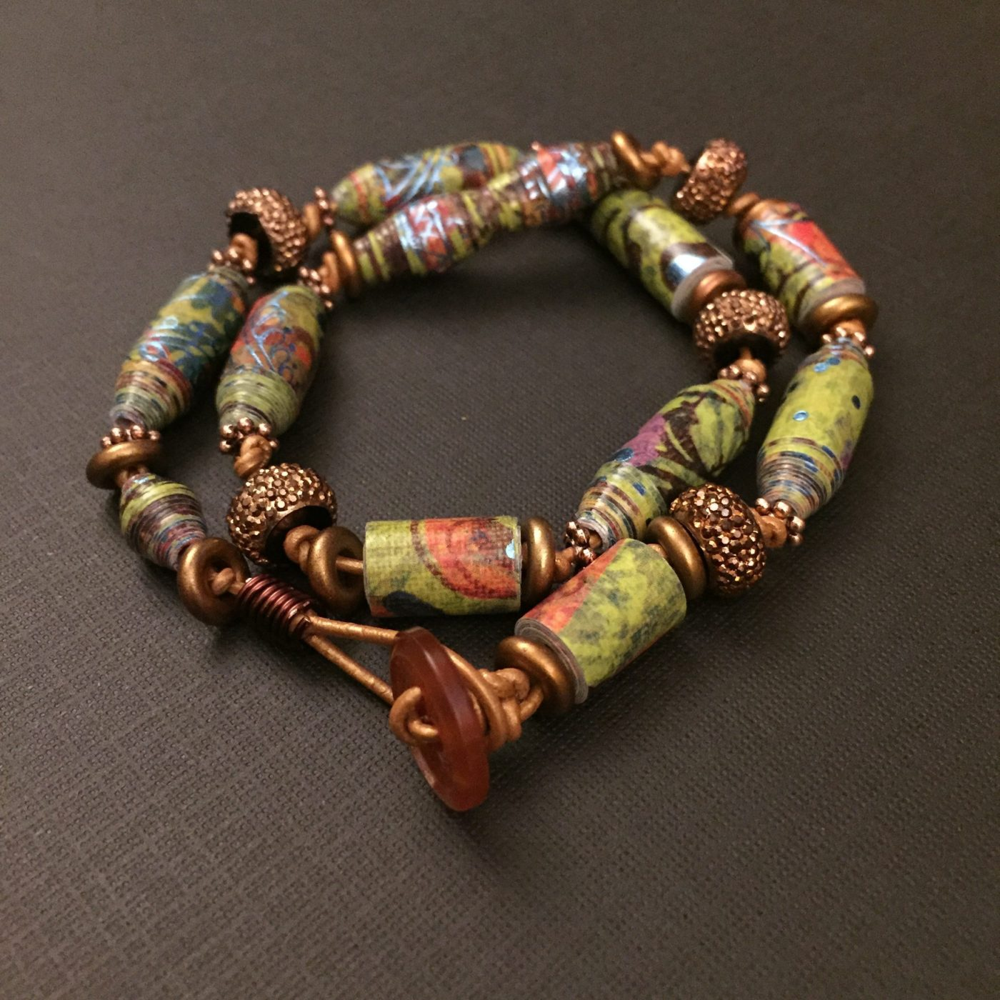 Paper Beaded Leather Bracelet