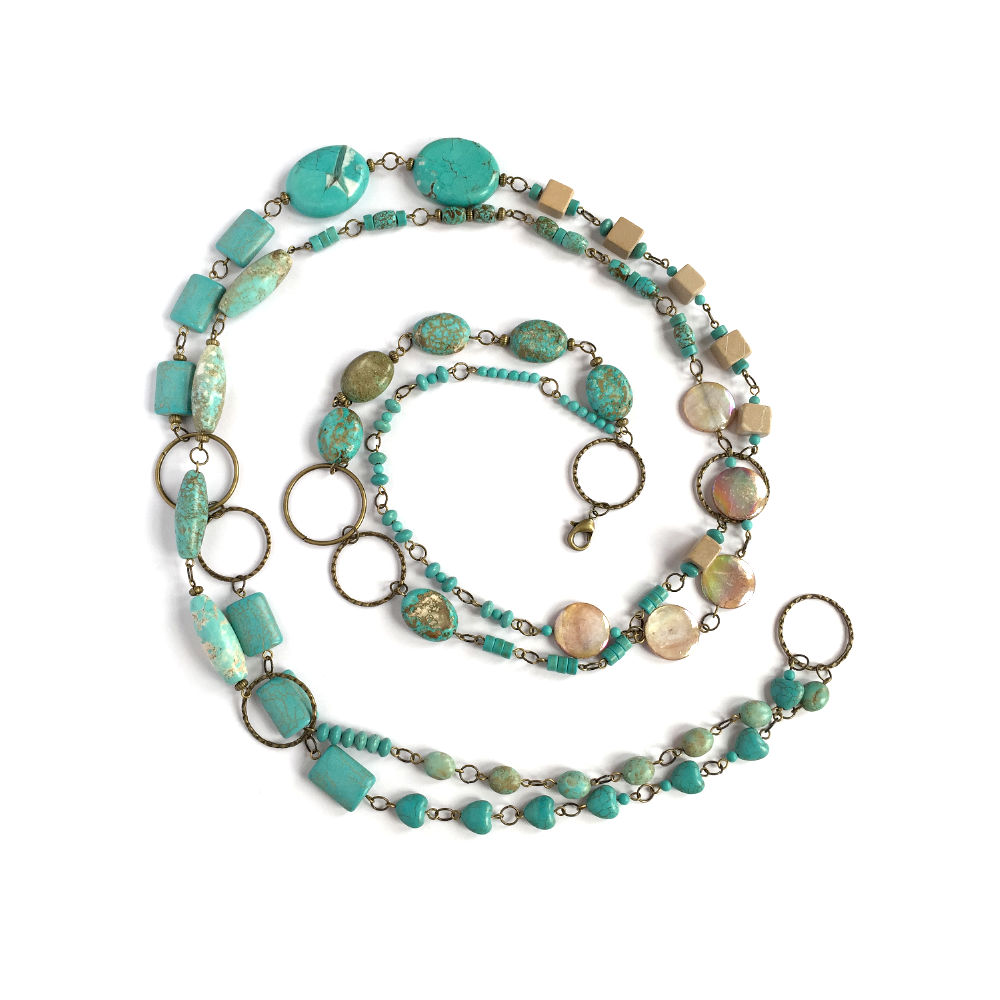 Turquoise and Brown Mother of Pearl Necklace