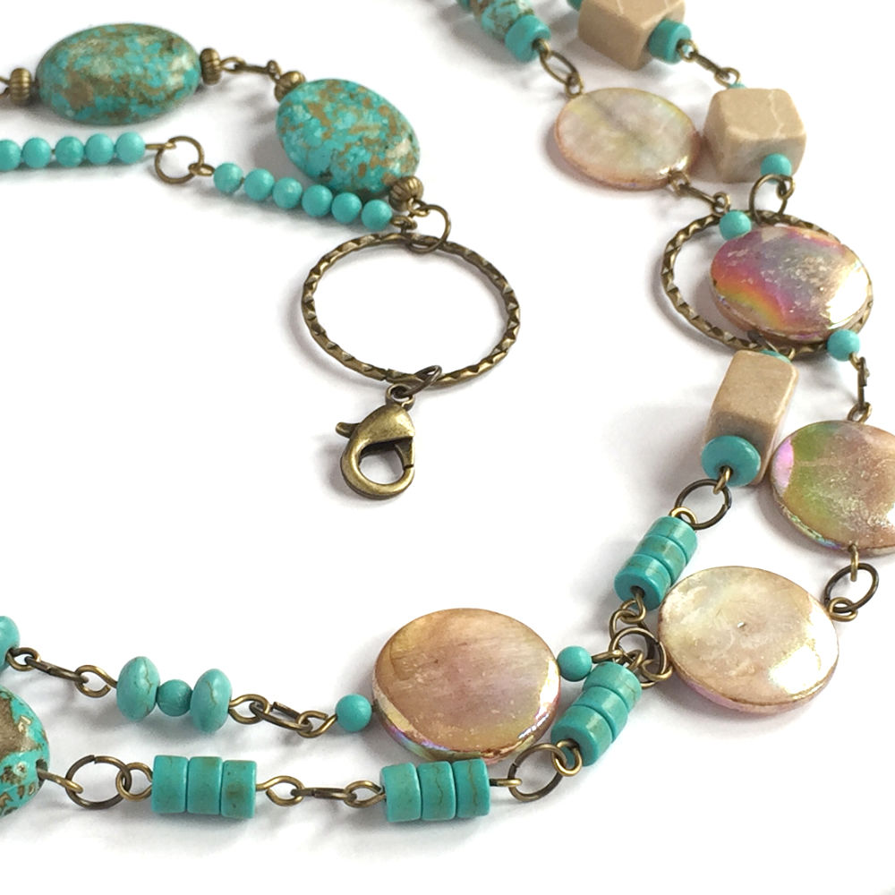 Turquoise and Brown Mother of Pearl Necklace - Detail