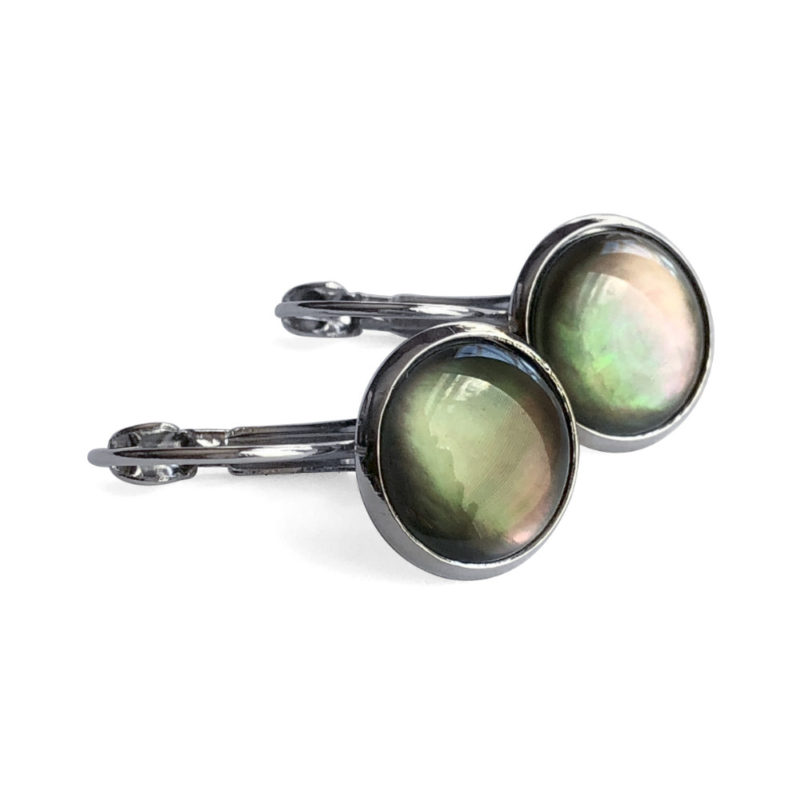 Natural Mother-of-Pearl Silver Leverback Earrings