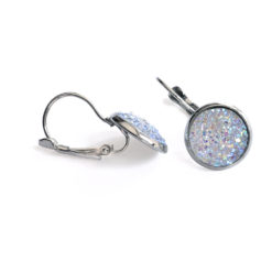 Aurora Druzy Silver Leverback Earrings Side View
