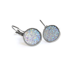 Aurora Druzy Silver Leverback Earrings