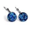 Blue Mermaid Druzy Silver Leverback Earrings