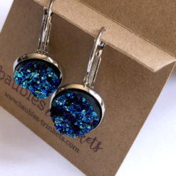 Blue Mermaid Druzy Silver Leverback Earrings