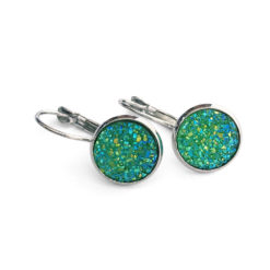 Shamrock Druzy Silver Leverback Earrings