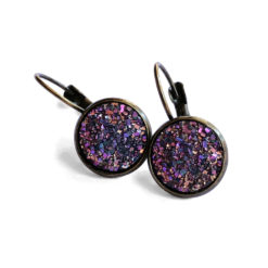 Unicorn Druzy Antique Gold Leverback Earrings