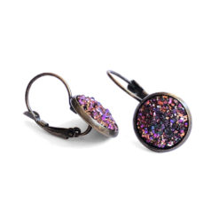 Unicorn Druzy Antique Gold Leverback Earrings Side View