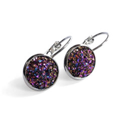 Unicorn Druzy Silver Leverback Earrings