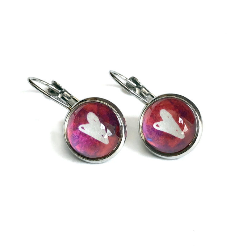 Glass Heart Cabochon Silver Leverback Earrings