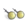 Yellow Swirl Silver Leverback Earrings
