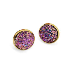 Purple Unicorn Druzy Gold Post Earrings