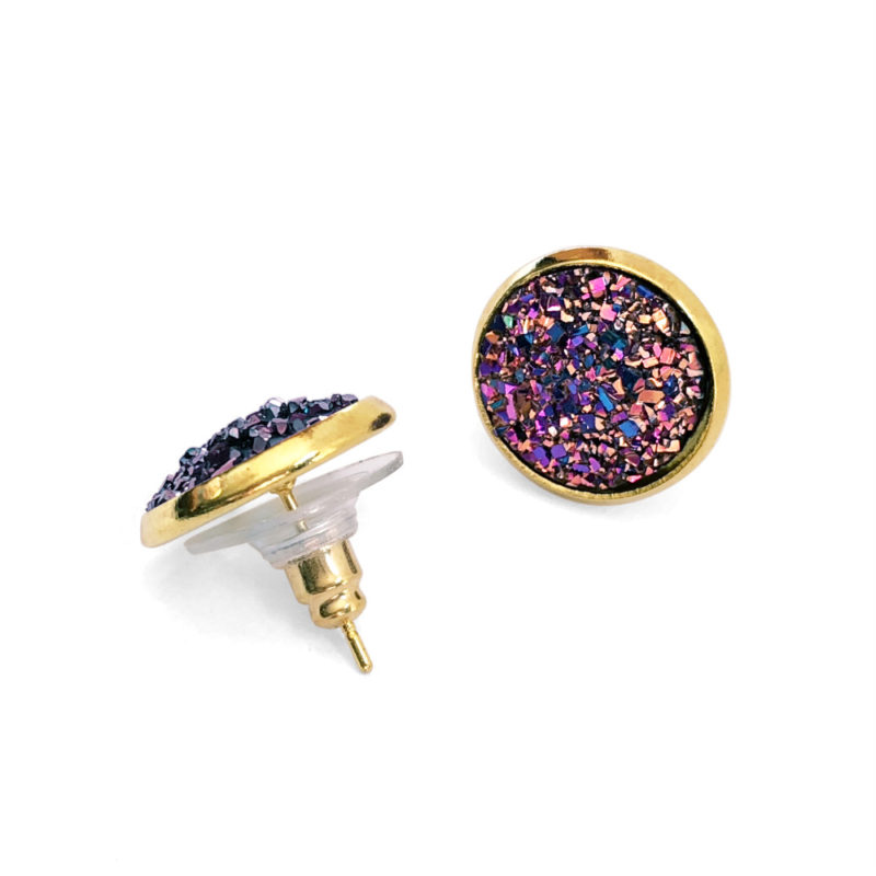 Purple Unicorn Druzy Gold Post Earrings Side View