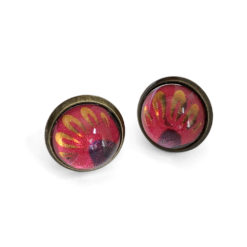 Red Floral Antique Gold Post Earrings