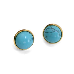 Blue Howlite Gold Post Earrings