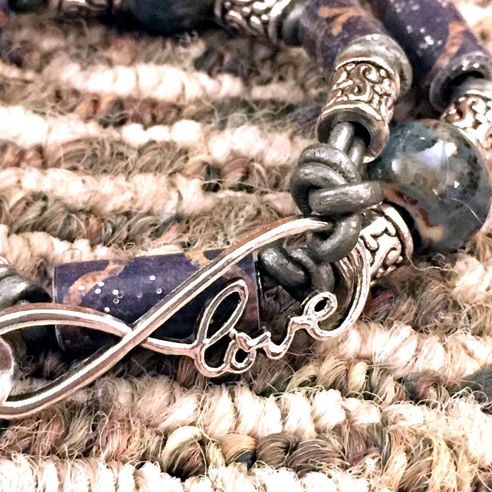 Ceramic & Paper Bead Leather Bracelet