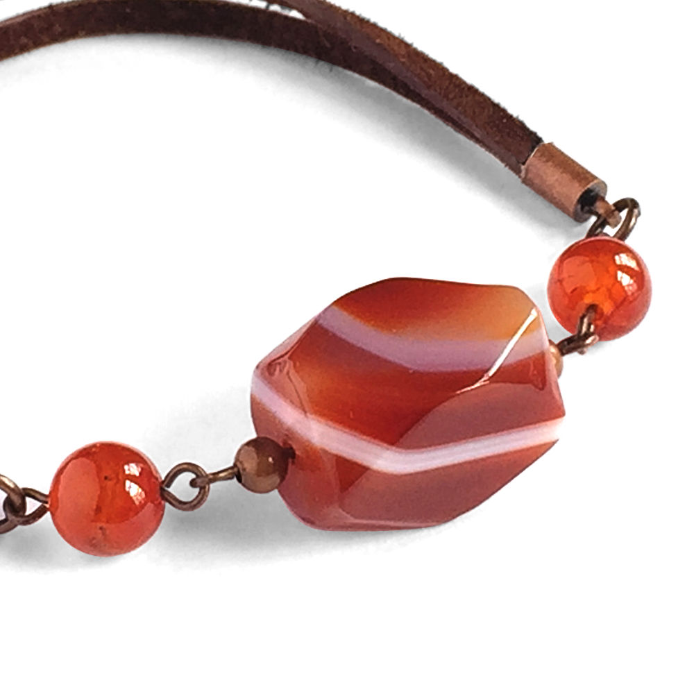 Brown Suede Agate Bracelet with Carnelian