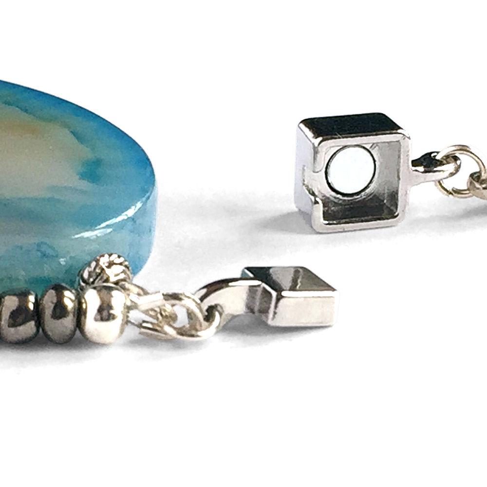 Blue Oval Agate Leather Bracelet
