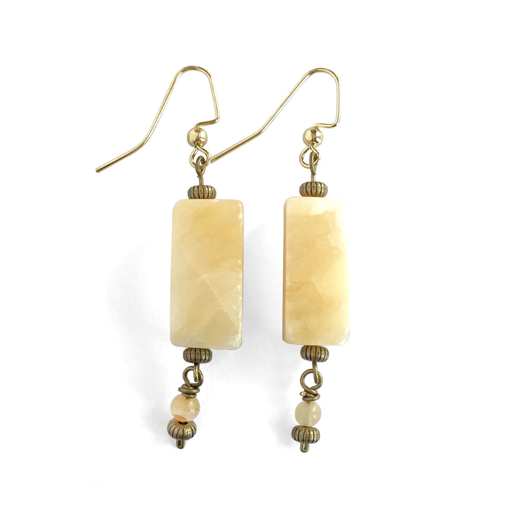 Calcite Earrings with Antique Gold Accents