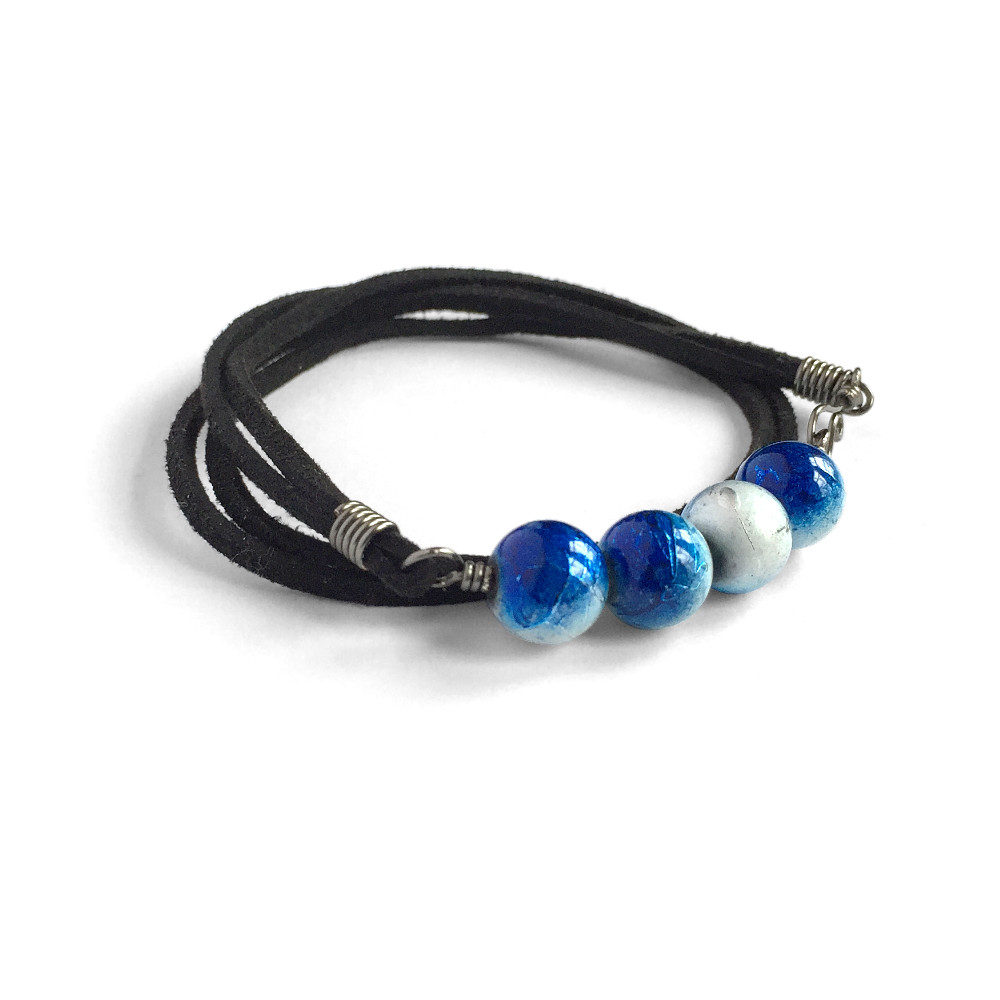 4-Stone Suede Bracelet in Metallic Blue