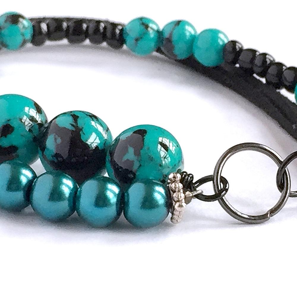 Turquoise & black mixed stone bracelet