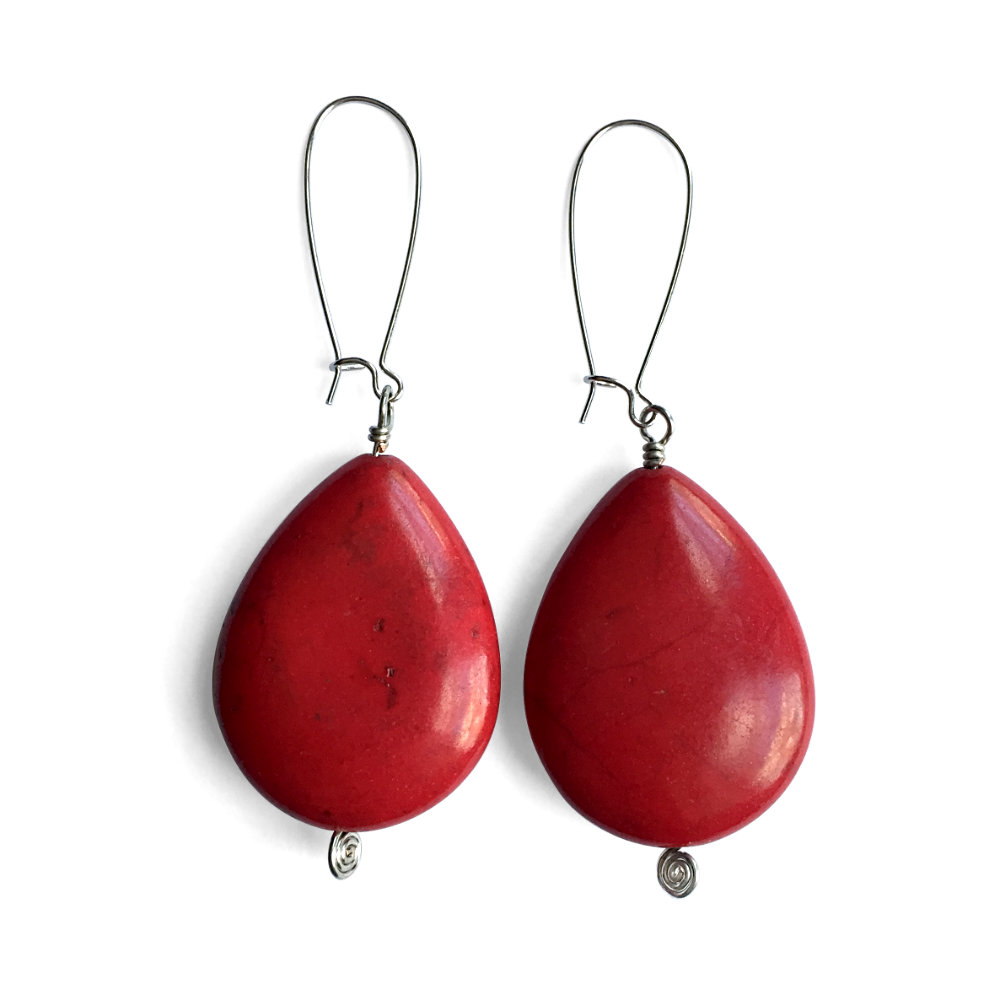 Red Howlite Teardrop Earrings