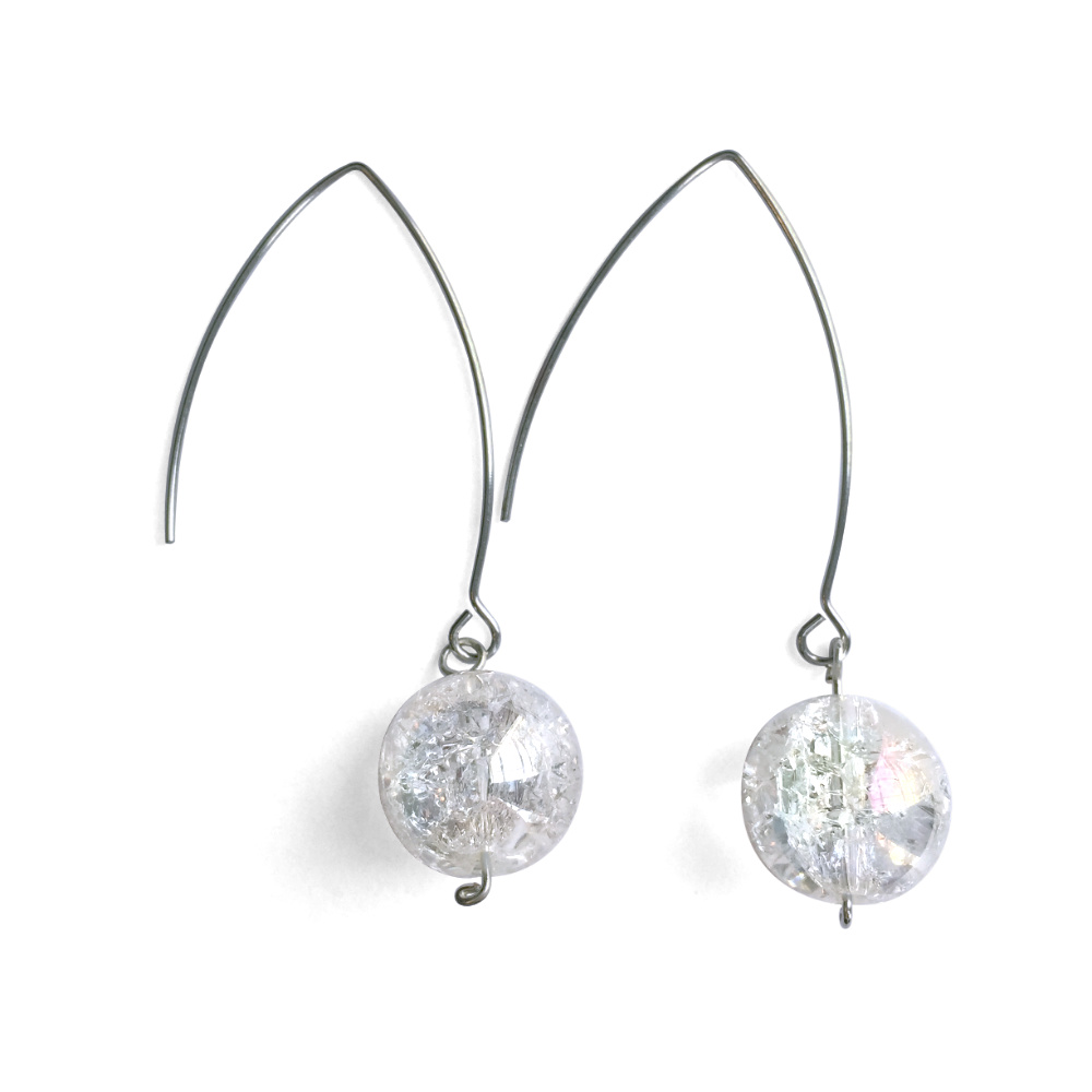 Crackled Crystal Ball Drop Earrings