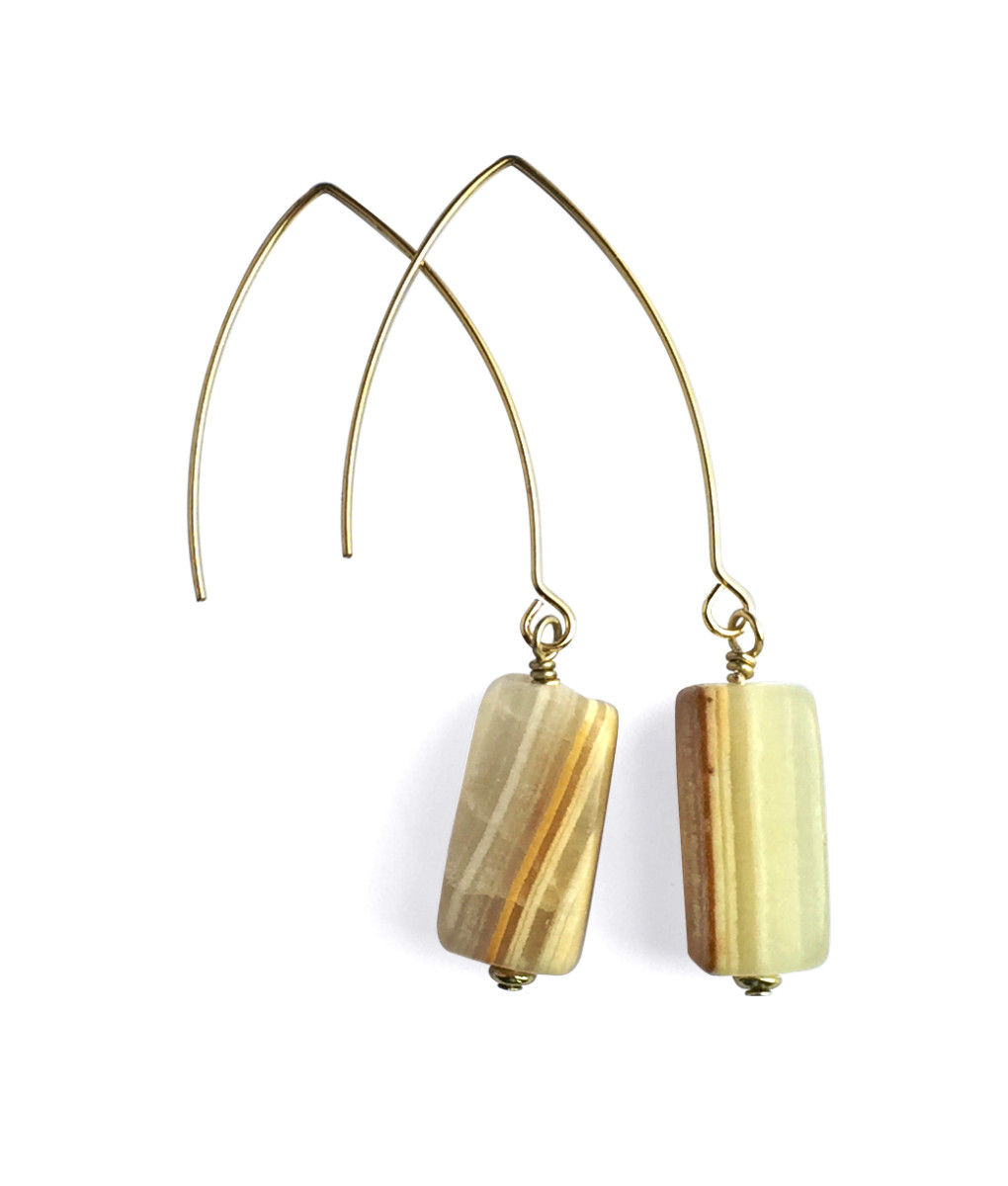 Dangle Drop Calcite Earrings