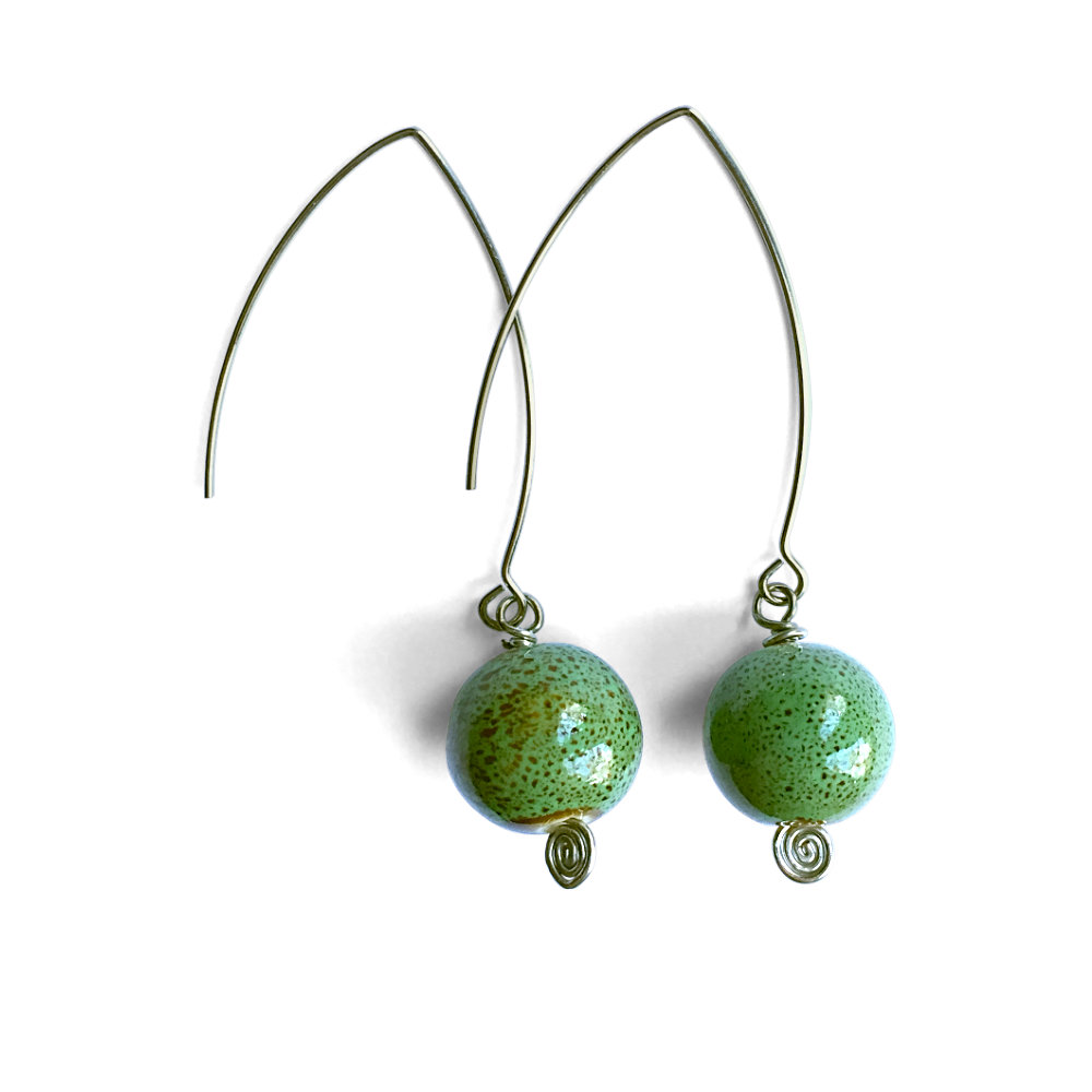 Green Ceramic Ball Dangle Earrings