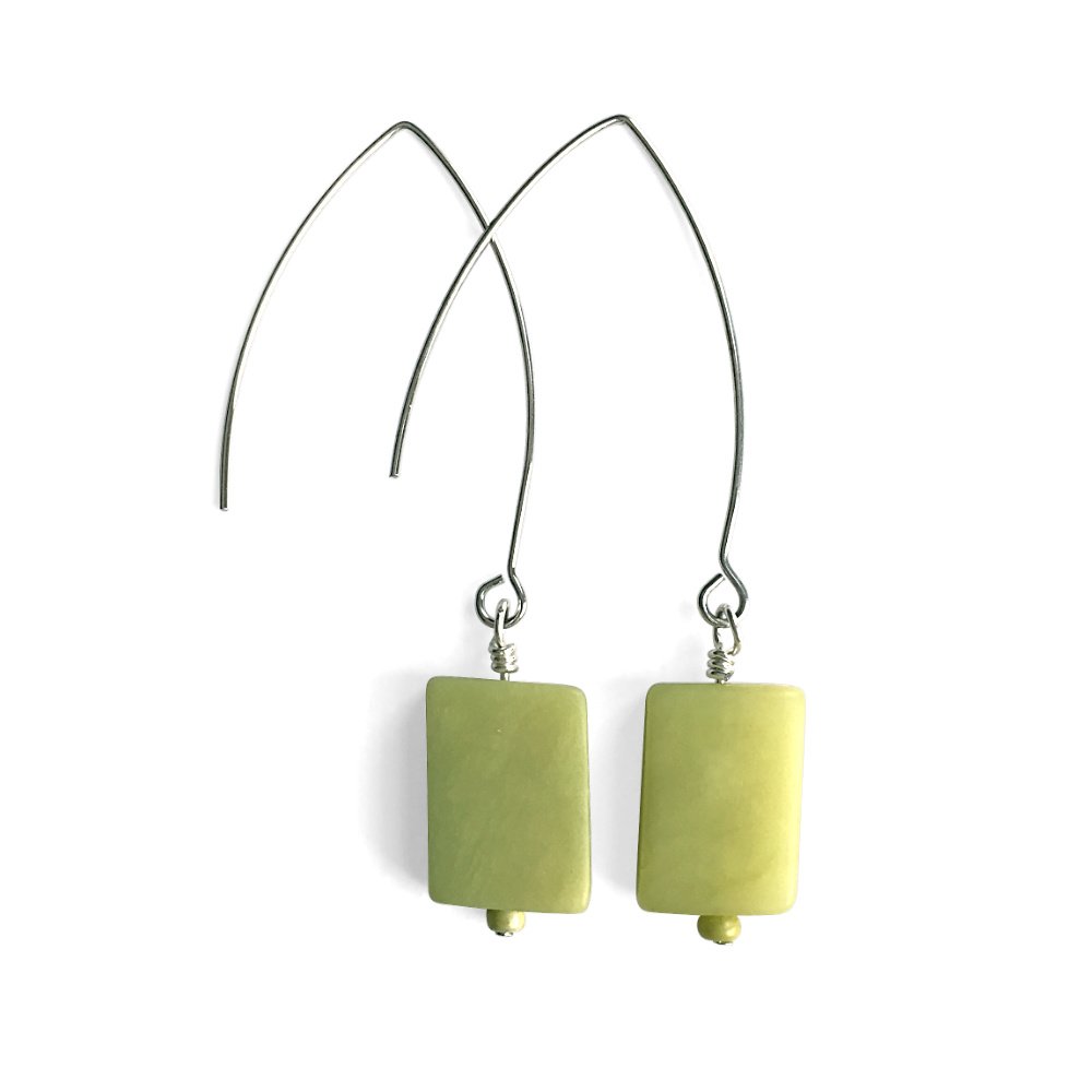 Green Serpentine Rectangle Dangle Earrings