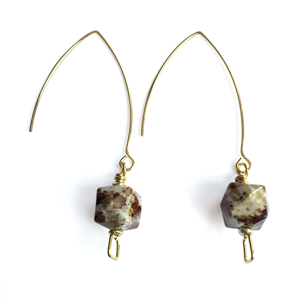 Spatter Cube Drop Earrings with Squares