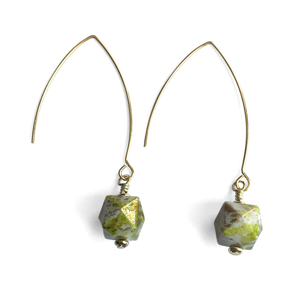 Spatter Cube Drop Earrings