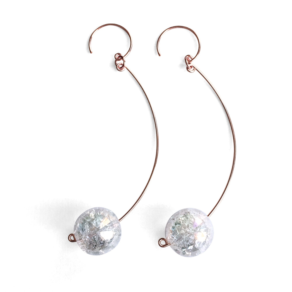Extra Long Crackled Crystal Ball Dangle Earrings