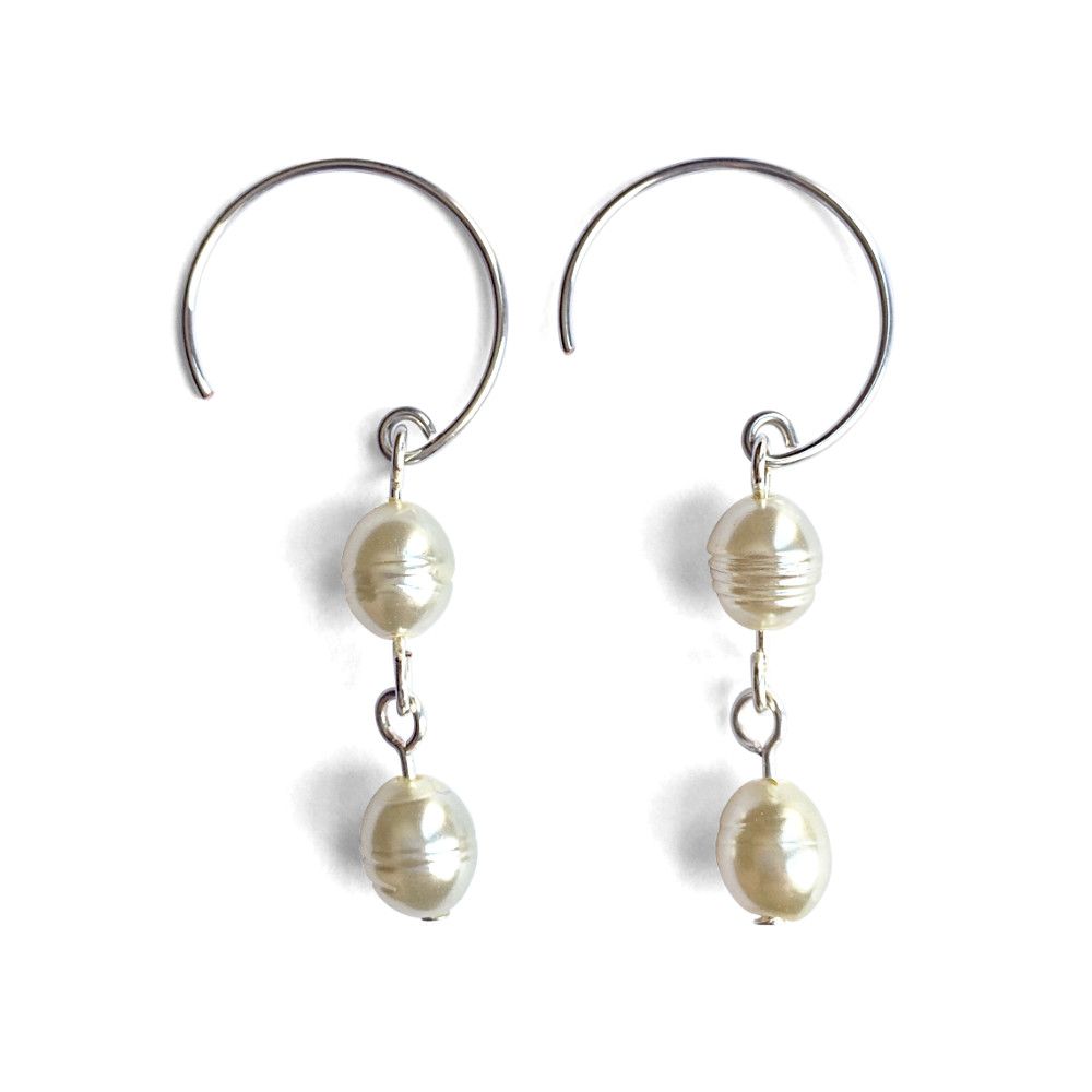 Double Rice Pearl Dangle Earrings