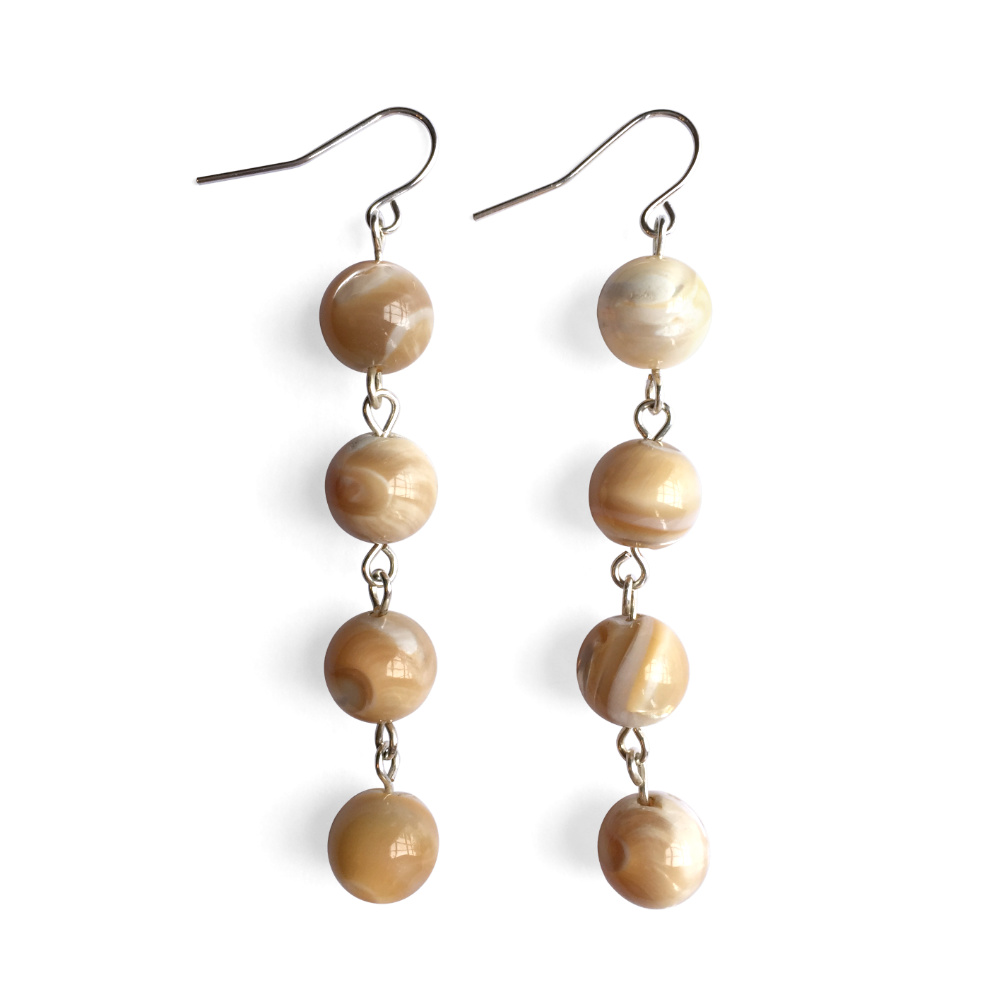 Fluid Four Stone Drop Earrings with Caramel Swirls