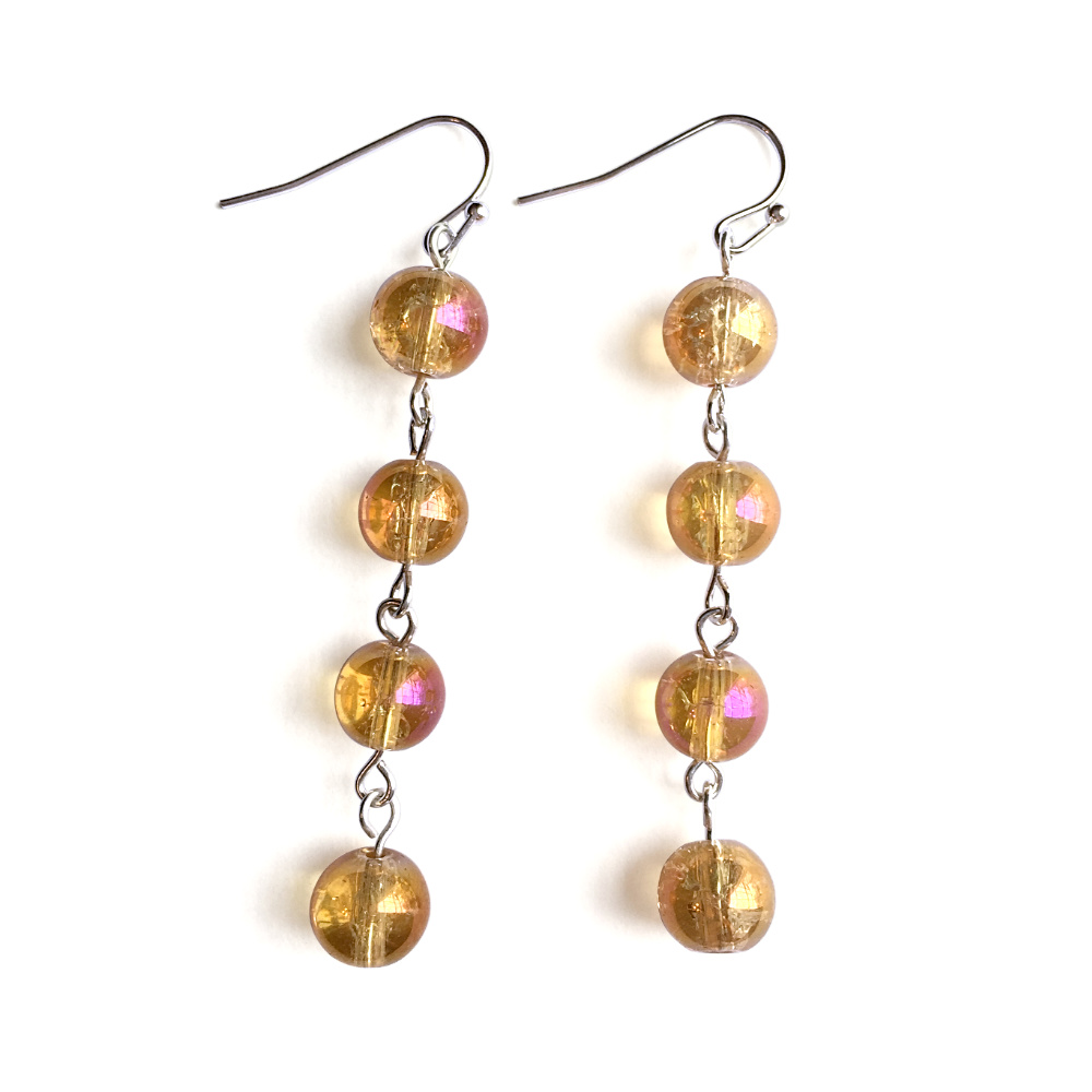 Fluid Four Stone Drop Earrings with Crackle Gold Balls