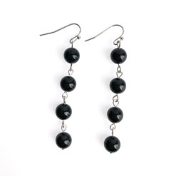 Fluid Four Stone Drop Earrings with Black Onyx