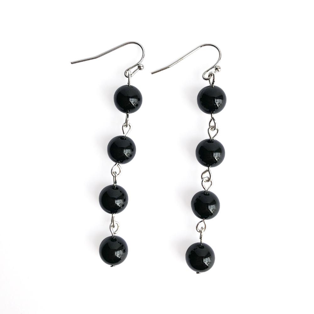 Fluid Four Stone Drop Earrings with Black Onyx