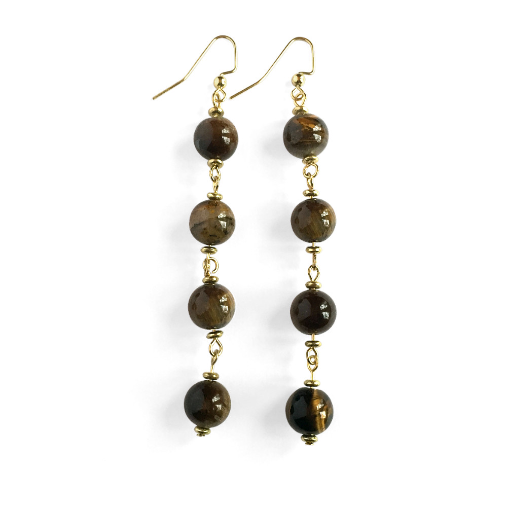 Fluid Four Stone Drop Earrings with Tiger's Eye