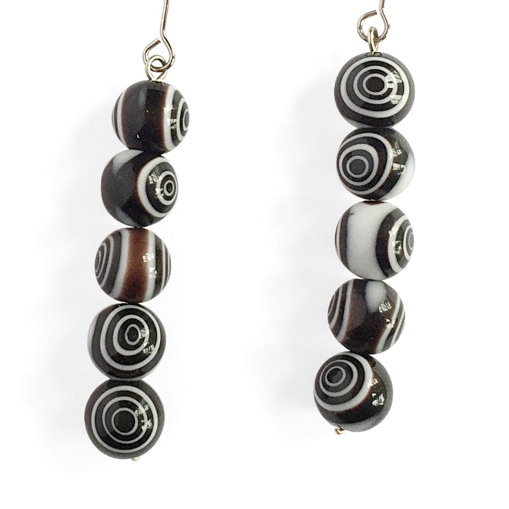 Bullseye Bead V-Drop Earrings