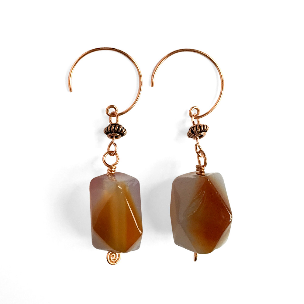 Agate Hook Drop Earrings