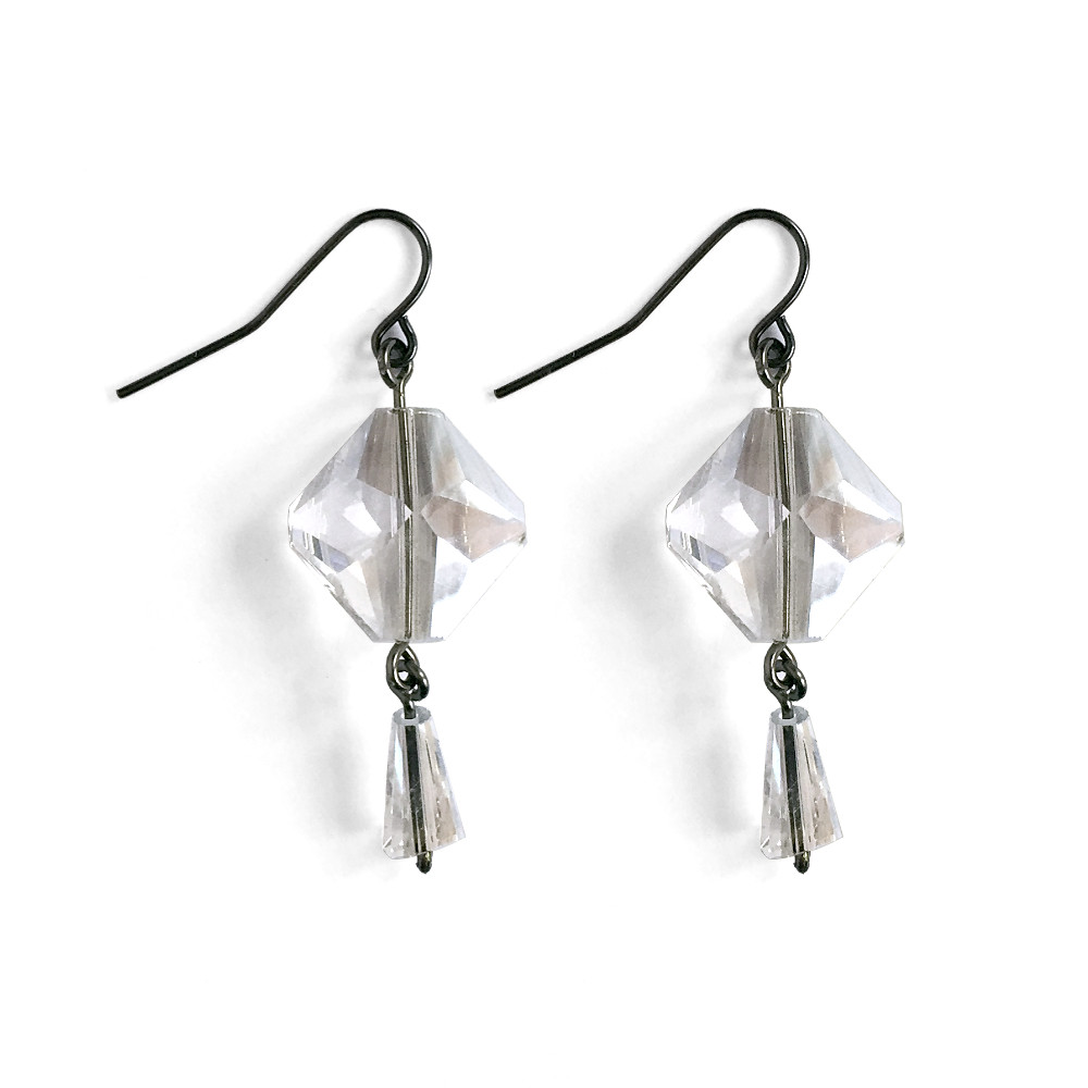 Glam Double Drop Crystal Earrings