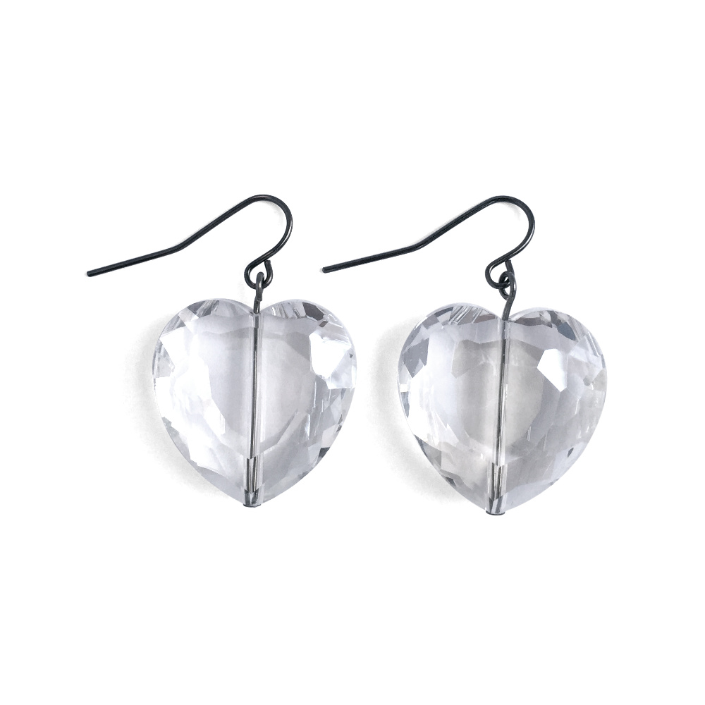 Faceted Clear Crystal Heart Earrings
