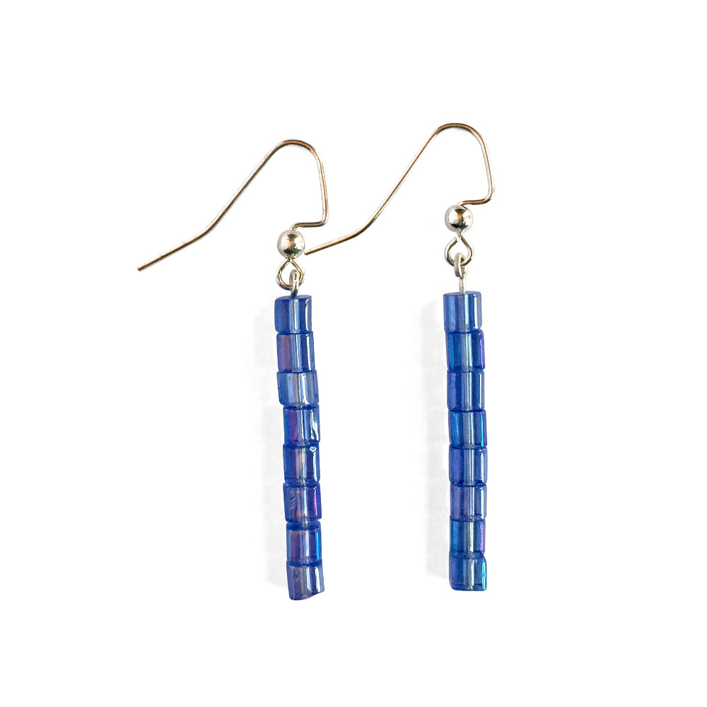 Straight Cube Drop Earrings - Indigo