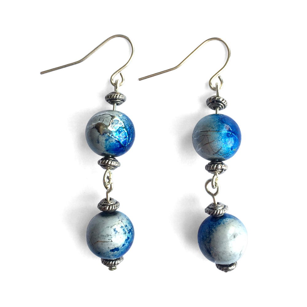 Double Metallic Blue Drop Dangle Earrings