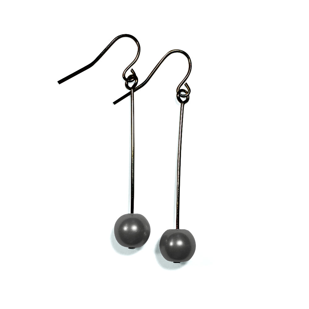 Dark Grey Pearl Single Drop Earrings in Gunmetal