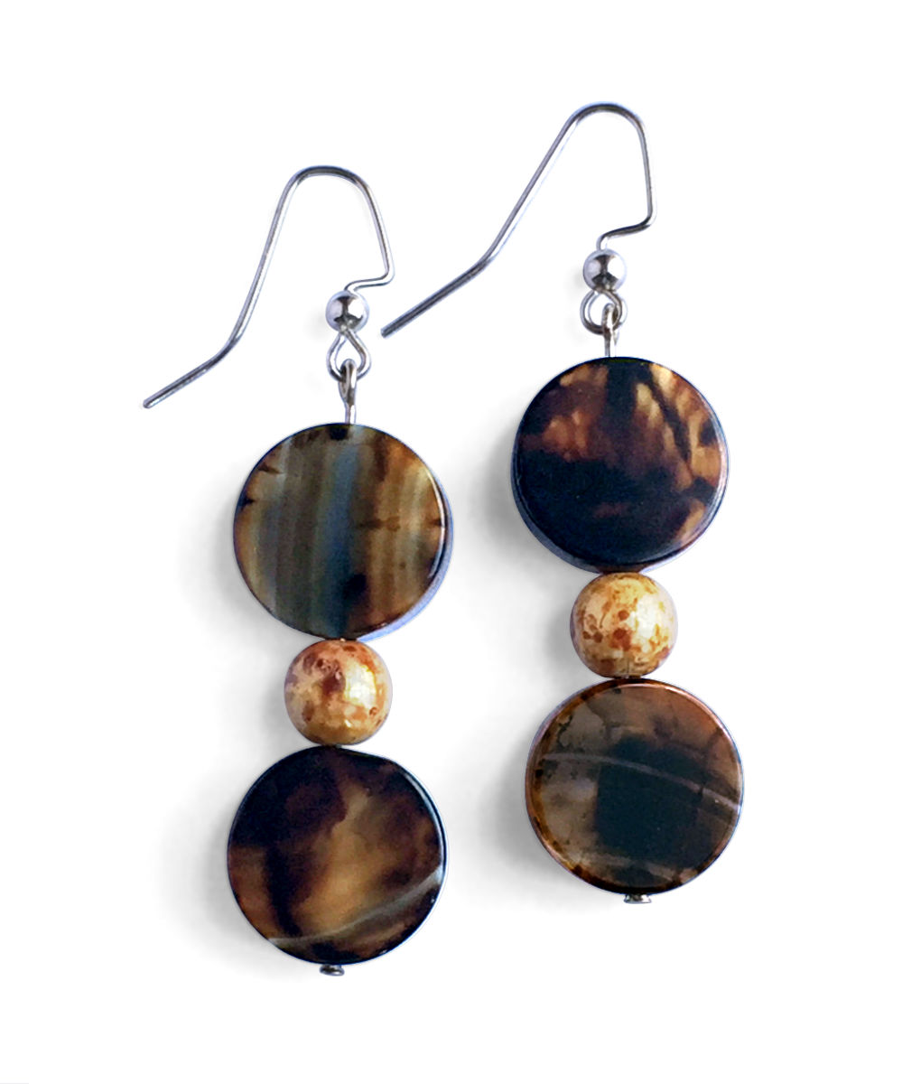 Brown Double Stone Disc Earrings - Silver