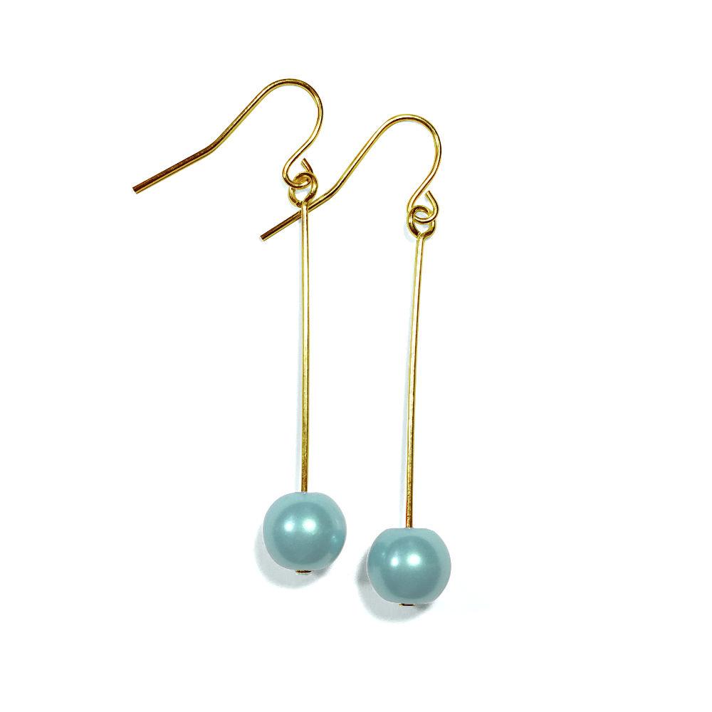Turquoise Pearl Single Drop Earrings In Gold