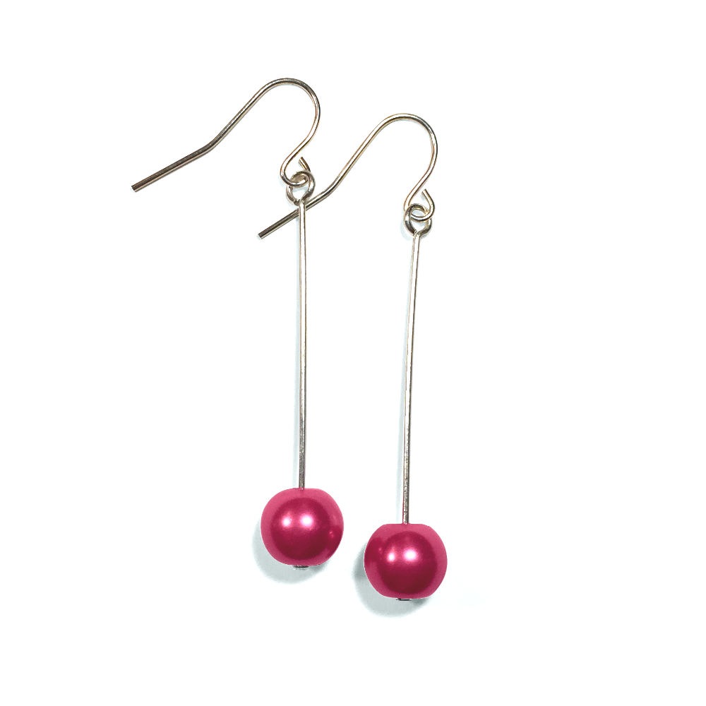 Dark Pink Pearl Single Drop Earrings in Silver