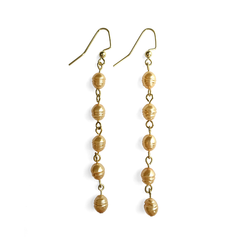 Fluid Five Pearl Drop Earrings