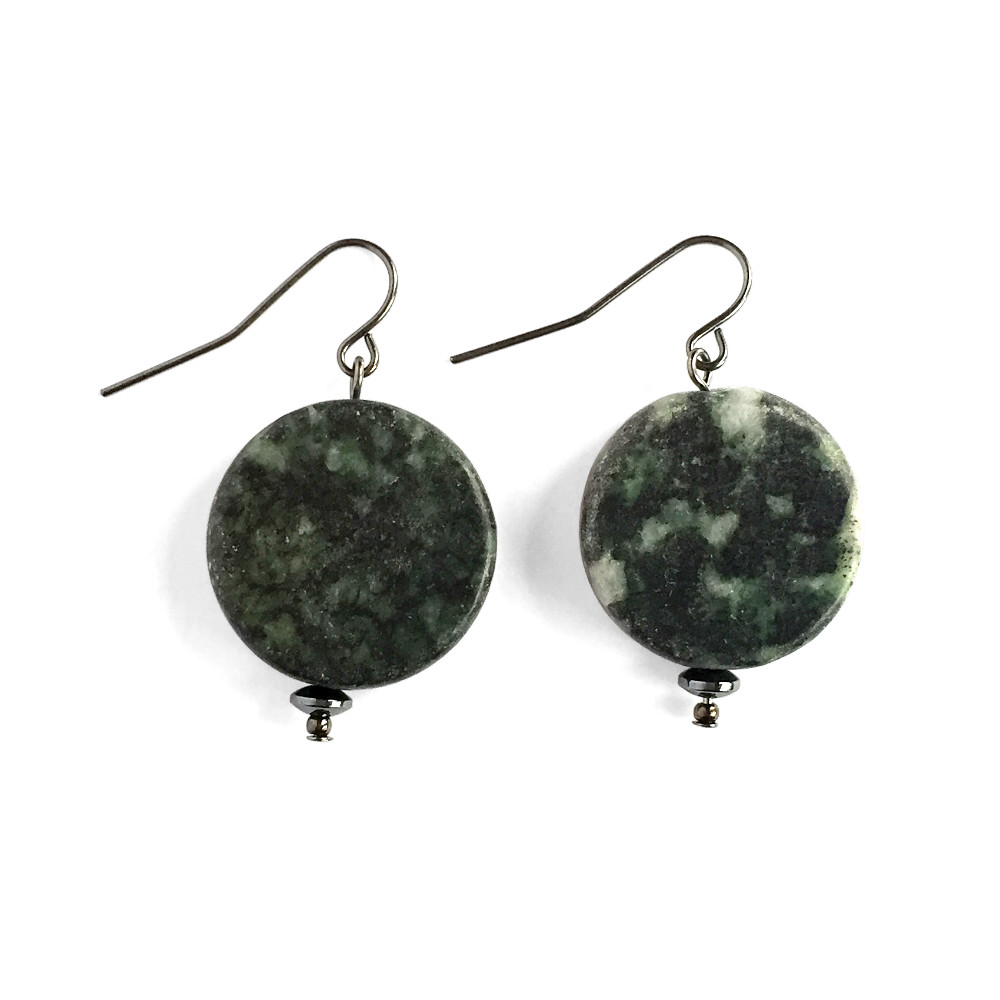 Green Marble Disc Earrings